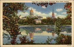 Lake View of Notre Dame University Postcard