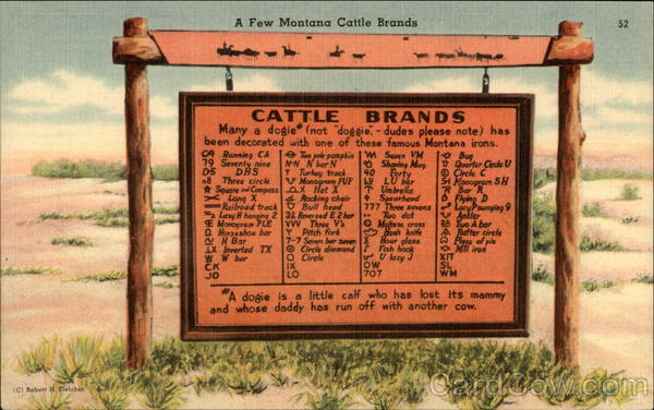 A Marker Showing Several Cattle Brands Montana