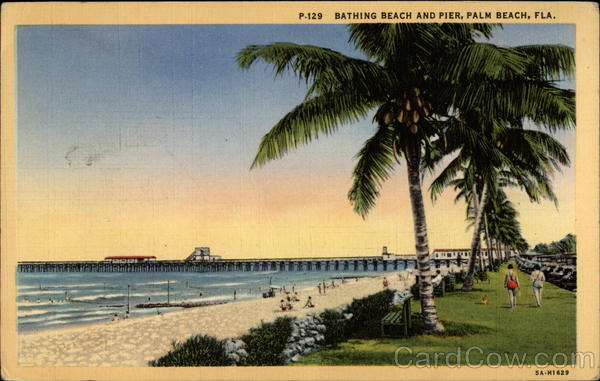 Bathing Beach and Pier Palm Beach Florida
