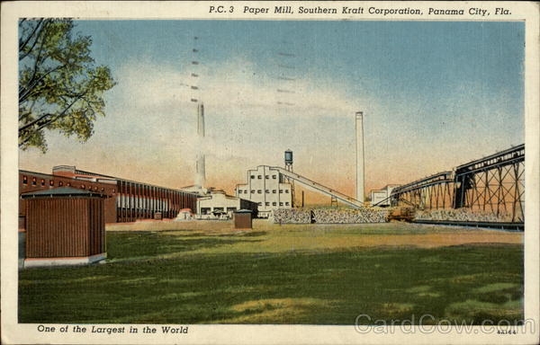 Paper Mill, Southern Kraft Corporation, One of the Largest in the World Panama City Florida