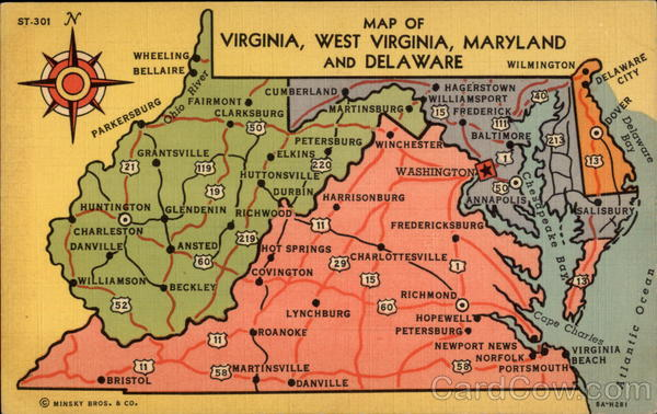 Map of Virginia, West Virginia, Maryland and Delaware Maps