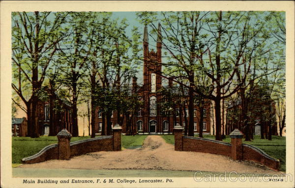 Main Building and Entrance, F. & M. College Lancaster Pennsylvania