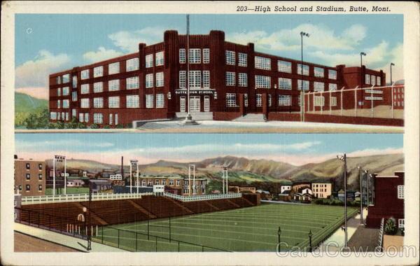 High School and Stadium Butte Montana
