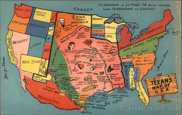Texan's Map of the U.S.A Maps