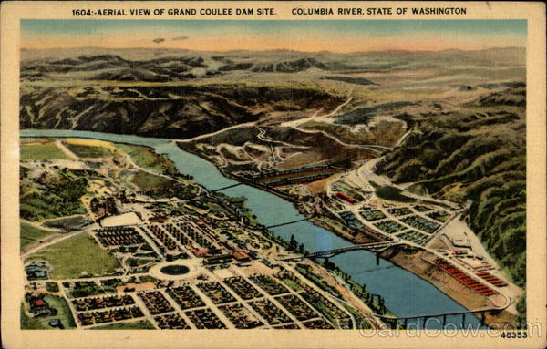 Aerial View of Grand Coulee Dam Site on Columbia River Mason City Washington