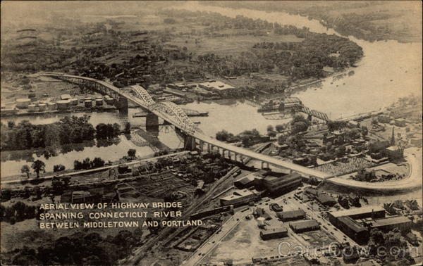Aerial View of Highway Bridge Spanning Connecticut River Between Middletown and Portland
