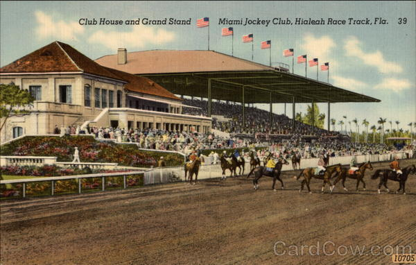Club House and Grand Stand at Hialeah Race Track Florida