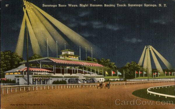 Saratoga Race Ways, Night Harness RAcing Track Saratoga Springs New York