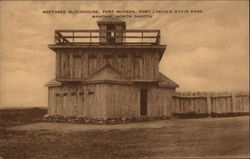 Restored Blockhouse, Fort McKeen, Fort Lincoln State Park Postcard