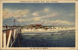 Beach and Casino, On the Gulf of Mexico Postcard