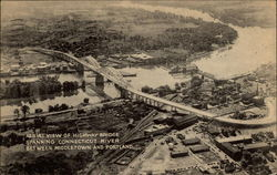 Aerial View of Highway Bridge Spanning Connecticut River