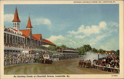 An Exciting Finish at Churchill Downs Postcard