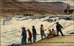 Fish Wheel and Indians Snagging Salmon at Celilo Falls on Columbia River