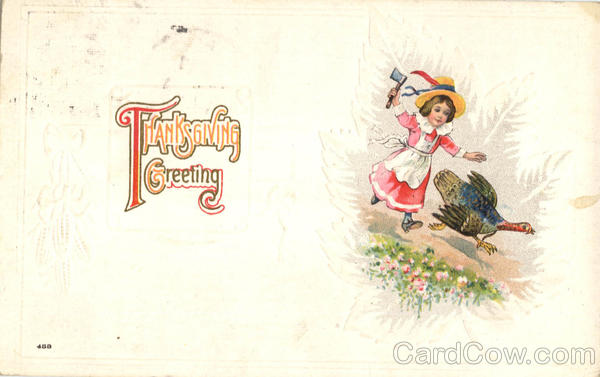 Thanksgiving Greeting - Girl Chasing Turkey