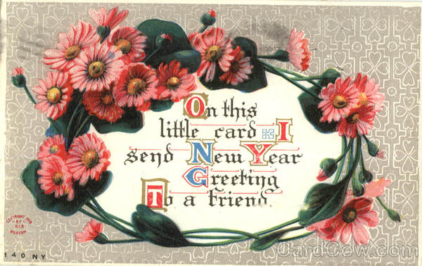 On This little card I send New Year Greeting to a friend