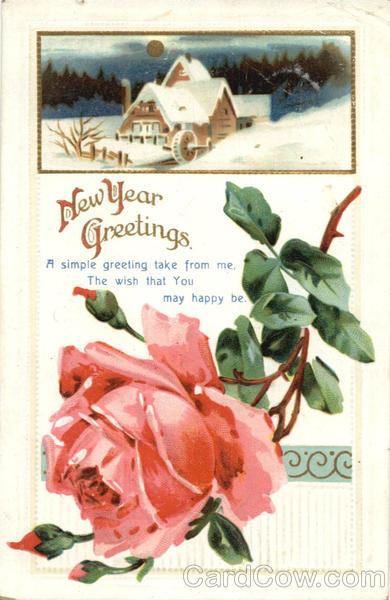 New Year Greetings Vintage Postcard
