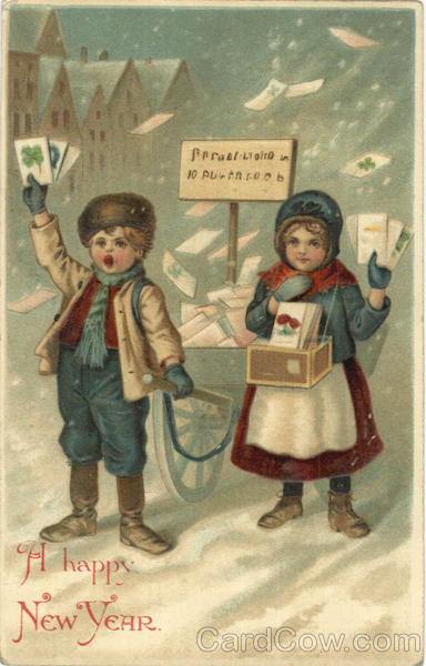 A Happy New Year - Children selling postcards New Year's