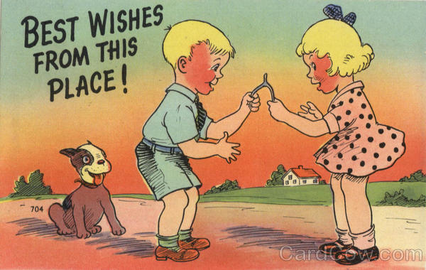 Best Wishes from this place! Children w/Wishbone Greetings