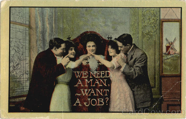 We need a man, want a job? Romance & Love