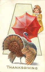 Thanksgiving Turkey & Little Girl w/Umbrella