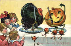 Thanksgiving Greetings - Dancing Food