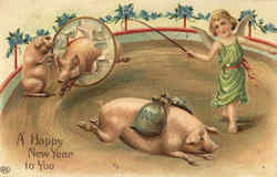 A Happy New Year - Pigs Postcard