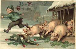 New Year Greetings - Pigs Postcard