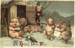 A Happy New Year - Drinking Pigs Postcard