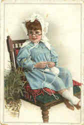 Little Girl with Glasses Postcard