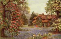 Queens Cottage in Chestnut Time Postcard