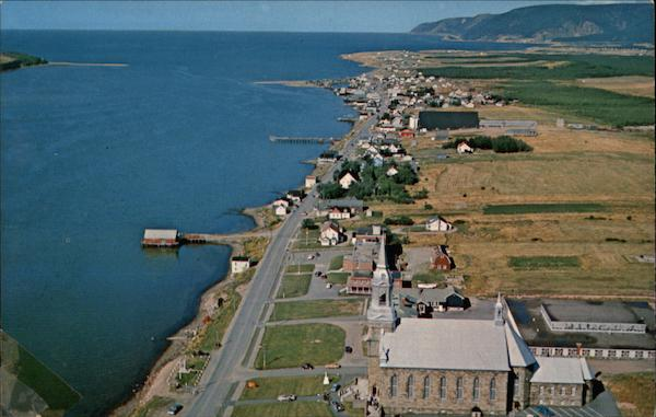 Aerial view of Cheticamp on the Cabot Trail Cape Breton Canada