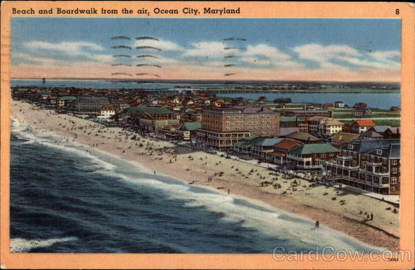 Beach and Boardwalk From the Air Ocean City Maryland