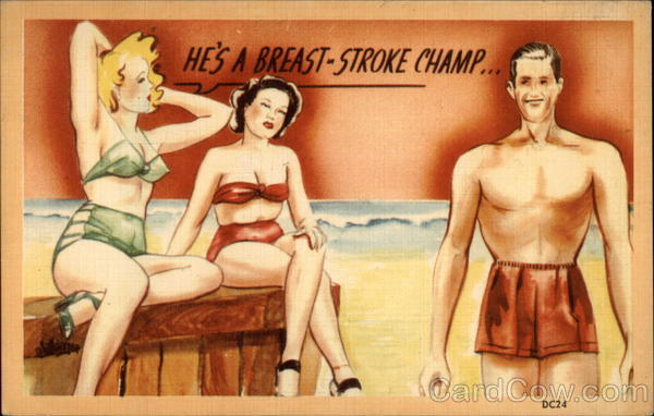 He's a Breast-Stroke Champ Comic, Funny
