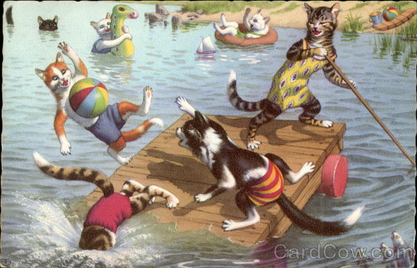 Cats Cavorting on a Raft