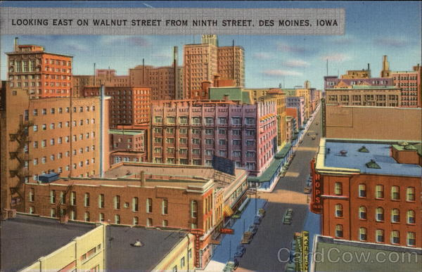 Looking East On Walnut Street From Ninth Street Des Moines Iowa