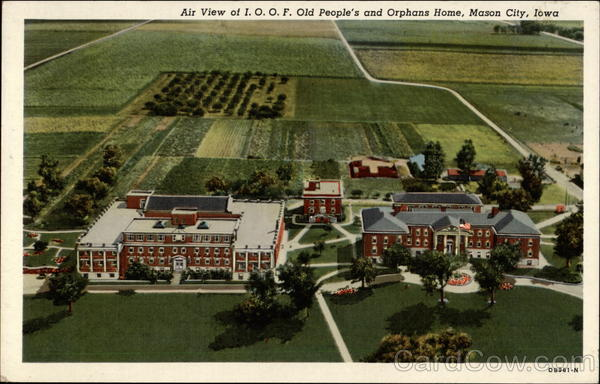 Air View of I.O.O.F. Old People's and Orphans Home Mason City Iowa