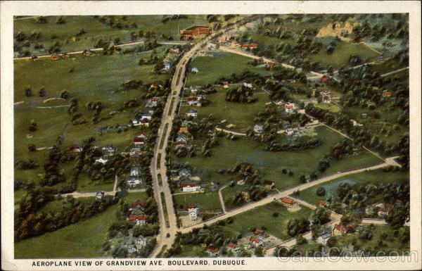 Aeroplane view of Grandview Ave. Boulevard Dubuque Iowa