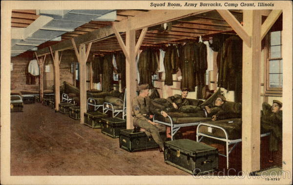 Squad Room at Army Barracks at Camp Grant Illinois