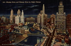 Wacker Drive and Chicago River By Night Postcard