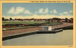 Race Track, Stables and Judges Stand Postcard