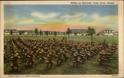Setting Up Exercises, Camp Grant Postcard