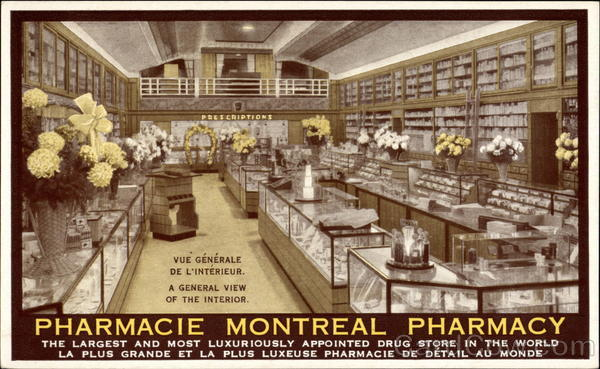 A General View of the Interior: Montreal Pharmacy Canada