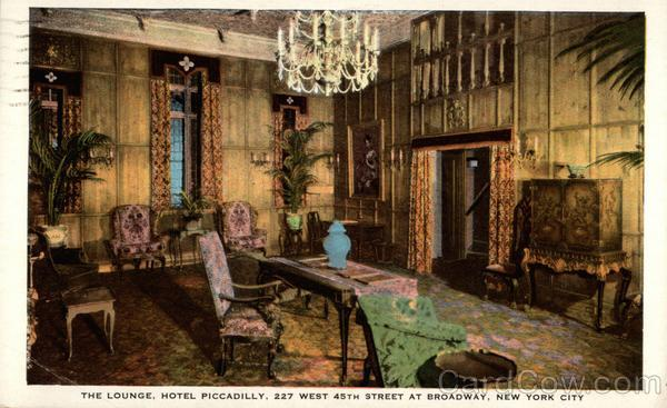 The Lounge, Hotel Piccadilly; 227 West 45th Street at Broadway New York City