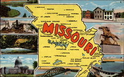 "Come and Visit Missouri, The ""Show Me"" State Postcard"