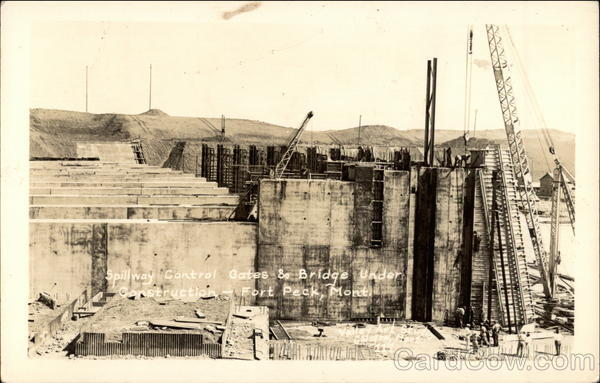 Spillway Control Gates & Bridge Under Construction Fort Peck Montana