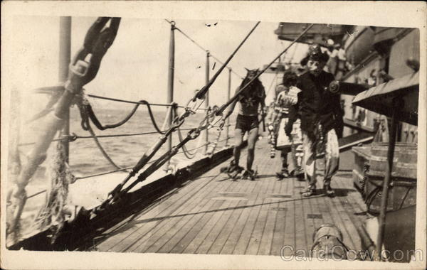 1908 Neptune Party Crossing the Equator Boats, Ships