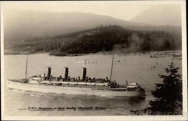 R.M.S. Empress of Asia leaving Vancouver Harbour Cruise Ships