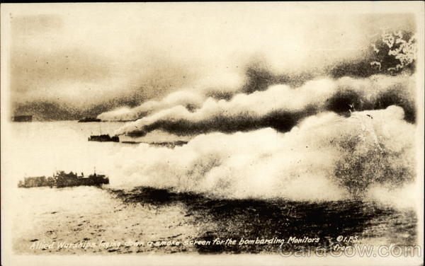 Allied Warships laying down a smoke screen for the bombarding Monitors