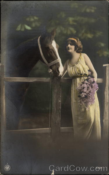 A Woman with a Horse and Flowers Women