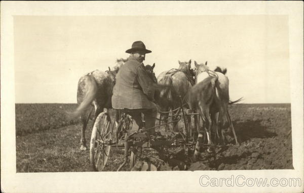 Farmer on Plow and His Team of Horses